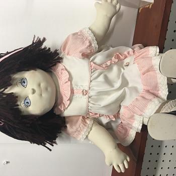 Large Vintage Cloth Cotton Doll Blue Eyed Heart Stamp - Dolls