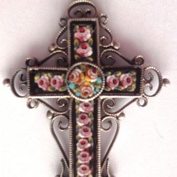 Mosaic Cross pendant set in silver - Fine Jewelry