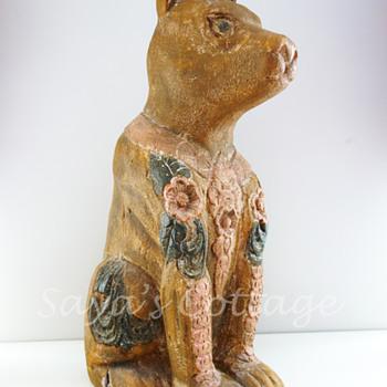 Unique  Handcarved Dog Statue.  - Folk Art