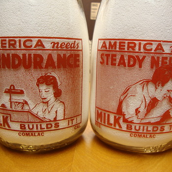 Comalac Dairy from California supported the war effort........ - Bottles