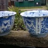 Delftware Tin Glazed Pottery Bowls, 1800s (?), Thrift Shop Find 2,00 Euro ($2.12)