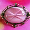Pink Glass Bohemian brooch