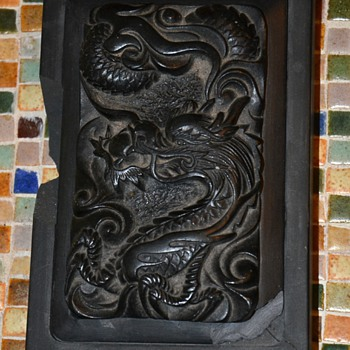 Carved Stone Dragon in a Frame - broken - Asian