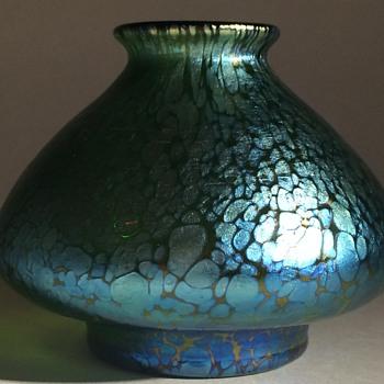 Loetz crete with a vivid blue papillon  - Art Nouveau