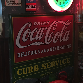 Coca-Cola 1932 Privilege Panel Curb Service porcelain sign  - Coca-Cola