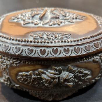 Vintage Oval Covered Box - Bakelite?  - Furniture