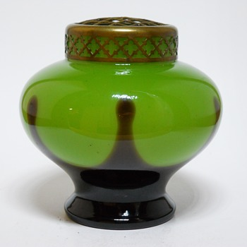 Kralik Art Deco Green Tango Posie Vase with Frog, Circa 1920 - Art Glass