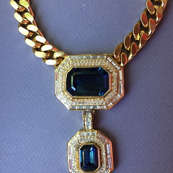 Christian Dior Rhinestone Blue Crystal Necklace - Costume Jewelry