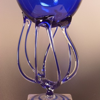 "Krosno - Jozefina - Octopus Jellyfish Compote - Cobalt Blue - 10"" - Art Glass"