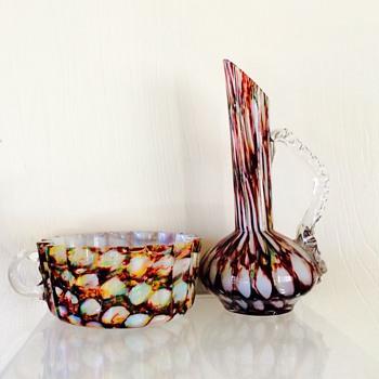 Welz Rainbow Honeycomb Cup? & Ewer Vase - Art Glass