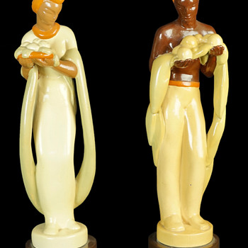 Pair of Pottery Figures - Figurines