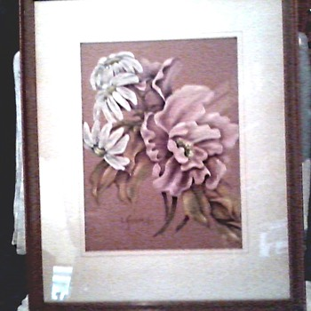 Beautiful Pair of Original Floral Drawings / Pastels on Buff Colored Art Paper / Signed L. Kennedy / Circa late 1930's-40's - Fine Art