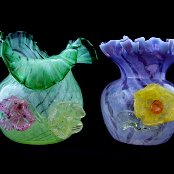 Applied Glass Flower Small Posy Vase Set  - Glassware