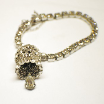 Vintage Rhinestone bracelet with Bell charm made of Rhinestones - Costume Jewelry
