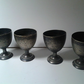 antique/vintage metal egg cups SILVER,BRASS ? - Arts and Crafts