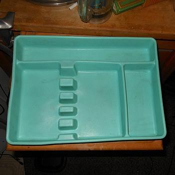 Vintage Plastic Silverware Holder Torquoise - Kitchen