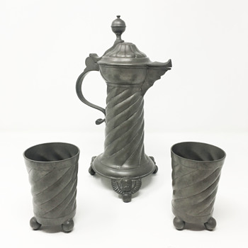 Antique Ornate Pewter Pitcher and Two Cups - Likely German