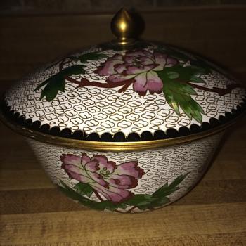 Metal/brass? Ornate bowl w/stamp - Asian