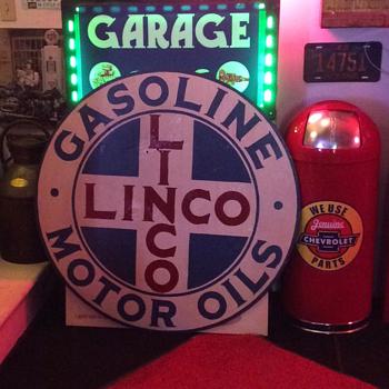 1920's Linco Gasoline & Motor Oil porcelain sign - Petroliana