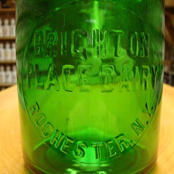Green Brighton Place Dairy... Rochester N.Y. Milk bottle......