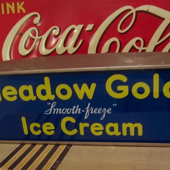 Meadow Gold smooth-freeze Ice Cream light up counter sign, 1950s - Signs