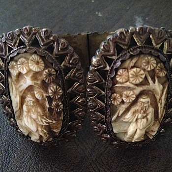ancient chinese mystery?  brass resin clamper bracelet