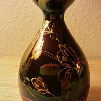 Iridescent Hand Blown Vase With Hand Pained Gold Design