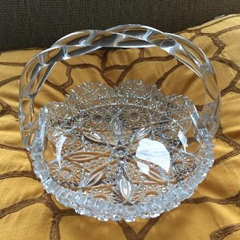 vintage crystal basket - Glassware