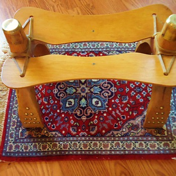Camel Saddle, Foot stool, Egypt on prayer rug, - Rugs and Textiles
