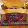 Camel Saddle, Foot stool, Egypt on prayer rug,