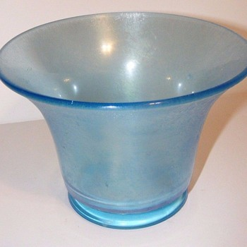 A New Favorite - USA Tiffin-US Glass Stretch Blue Glass Pea Vase 1920s - Art Glass