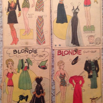 1933 original newspaper paper dolls. Blondie, Sisters and Tillie the Toiler