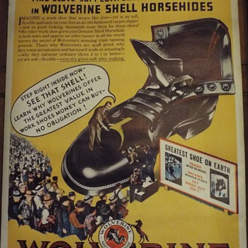 1930's ? Wolverine work Boots Poster - Advertising