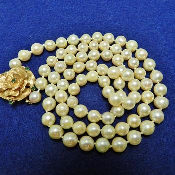 14k Gold  Emeral & Pearl Necklace Garage Sale Score