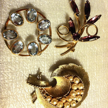 Three of my Nana's Brooches - Costume Jewelry