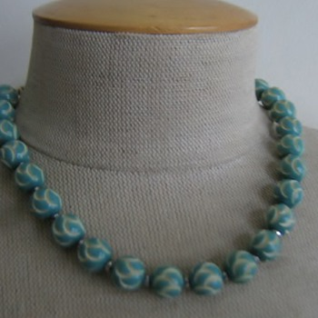 Aqua carved celluloid beads from 1930's  - Costume Jewelry