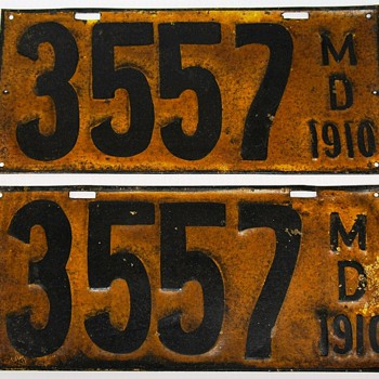 1910 Maryland License Plates, First Issue, Pair - Classic Cars