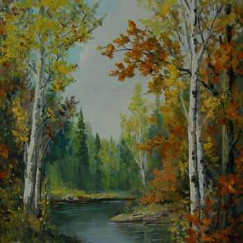 Anna Jalava, Autumn Scene, Oil on Masonite, Circa 1960-70 - Fine Art