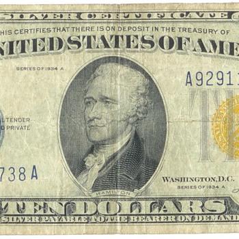 $10 N.Africa Silver Certificate - US Paper Money
