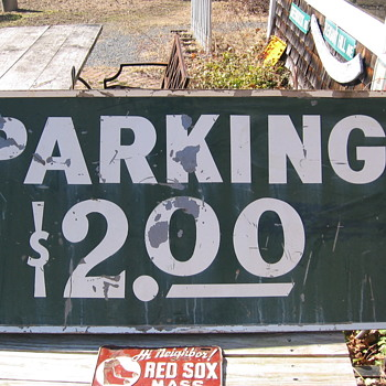 Fenway Park Parking Sign & 1957 Narragansett Beer Hi Neighbor Red Sox License Plate - Baseball