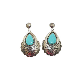 Turquoise & Sterling Silver Concho Earrings