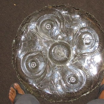 "Large glass service plate 22"" - Glassware"