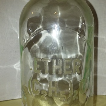 old glass ETHER laboratory bottle - Bottles