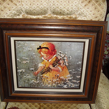 Girl picking flowers under glass - Fine Art