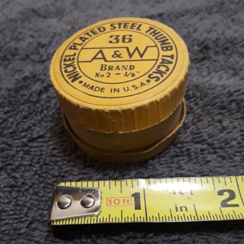 old box for A&W BRAND THUMB TACKS - Advertising