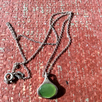 Scandinavian silver and aventurine pendant  - Fine Jewelry
