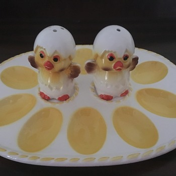 Devilled Egg plate with Salt & Pepper shakers - China and Dinnerware