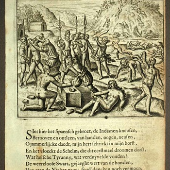 Three etchings on Spanish colonialist massacres in West Indies