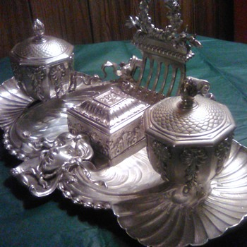 Silver plated brass double inkwell - Silver