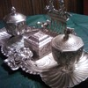Silver plated brass double inkwell